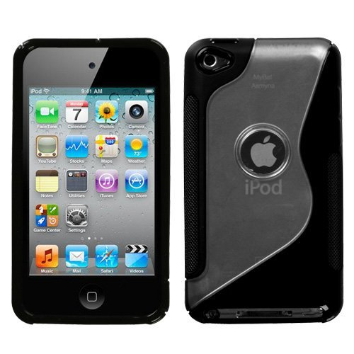 Gummy Cover - Transparent Clear/Solid Black (S Shape) for Apple iPod Touch 4G