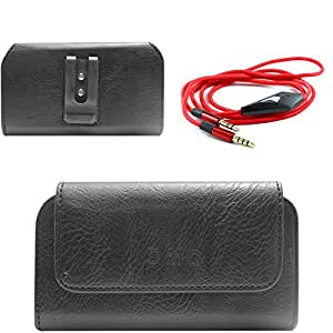 DMG Premium PU Leather Cell Phone Pouch Carrying Case with Belt Clip Holster for Lenovo A536 (Black) + 3.5mm Flat AUX Cable with Mic