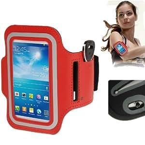 Brassard sport tour de bras rouge pour Samsung Galaxy SIV mini S4 mini / i9190 idéal pour les sportifs, course à pied ou salle de sport avec pochette pour clés