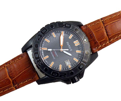Fanmis Pvd Case Black Dial Auto Mens Womens Brown Leather Strap Watch / Water Resistant Sea-Gull 2100