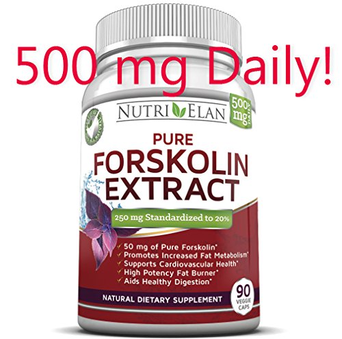 ** 24 Hour $19.95 Sale ** Forskolin 250Mg Fat Burner 90 Capsules Maximum Dosage For Fast Results (Standardized To 20% @ 250Mg Per Capsule With 50Mg Of Active Forskolin - Not 125Mg Like Others) Coleus Forskohlii - All Natural Appetite Suppresant And Weight