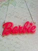 Large Funky Barbie Pink Glitter Name Logo Chain Pendant Necklace