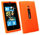 Emartbuy® Nokia Lumia 800 LCD Screen Protector And Silicon Skin Cover/Case Orange