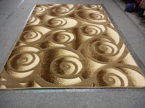 Coffe Dark Beige Beige Tan Color Modern Transitional Geometric Design Hand Carved 8x11 Thick Pile High Density Non Slide Carpet Area Rug Floor Mat Livingroom Bedroom 314