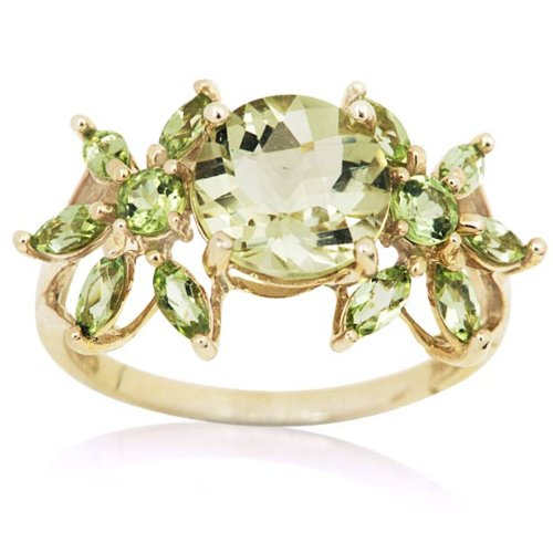 10k Yellow Gold 3.46 carat Lemon Quartz Enchanted Garden Ring