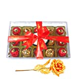 Valentine Chocholik Premium Gifts - Luscious Collection Of Wrapped Chocolates With 24k Gold Plated Rose