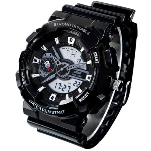 New Unisex Fashion Sport Watch Analog/Digital Water Resist Dual Time Multifunction Alarm Led Womens Mens Wristwatch 6 Colours Option (Black01) (Top Digital Watches compare prices)