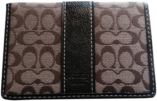 Coach   Women's Coach Signature Card Case Khaki/Mahogany