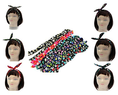 6 PC. LOVELY CUTE SKULLS BUNNY EAR RIBBON METAL WIRE HEADBAND SCARF HAIR BOW by Hot Punk