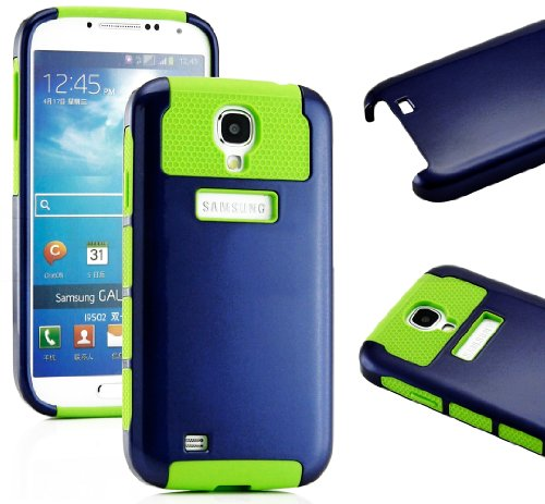 """Mylife (Tm) Navy Blue And Green - Classic Tough Design (2 Piece Hybrid Bumper) Hard And Soft Case For The Samsung Galaxy S4 """"Fits Models: I9500, I9505, Sph-L720, Galaxy S Iv, Sgh-I337, Sch-I545, Sgh-M919, Sch-R970 And Galaxy S4 Lte-A Touch Phone"""" (Fitted"""