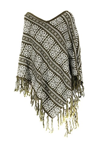 G2 Chic Women's Knit and Faux Fur Poncho Sweaters with Fringe Cape(OW-JKT,DGNA2-OS)