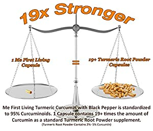 Me First Living Premium Turmeric Curcumin With Black Pepper, 95% Curcuminoid (Extract!), 1000mg, 19x More Potent Than Other Brands, Increased Bioavailability, Vegan Friendly, All Natural, Lab Tested