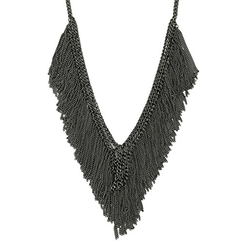 CRENZ Black Metal Chain Necklace For Women