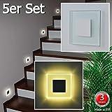 5er Set LED Design Warmweiß SUN-LED 100x100mm Glas-Alu Hochwertig Treppenlicht Wand Stufen Treppen Beleuchtung