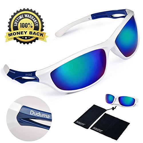 3d76c6f9d2134 Duduma Polarized Sports Sunglasses Sports Wrap for Running Cycling Fishing  Golf Tr90 Unbreakable Frame (white