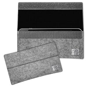 SIMON PIKE Schwarz Hülle Handytasche NewYork 1 grau für Apple iPhone 5S 5C 5 aus Filz