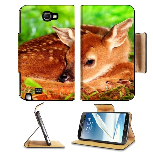 Deer Baby Bambi Rest Sleep Samsung Galaxy Note 2 N7100 Flip Case Stand Magnetic Cover Open Ports Customized Made To Order Support Ready Premium Deluxe Pu Leather 6 1/16 Inch (154Mm) X 3 5/16 Inch (84Mm) X 9/16 Inch (14Mm) Liil Note 2 Cover Professional No front-994832