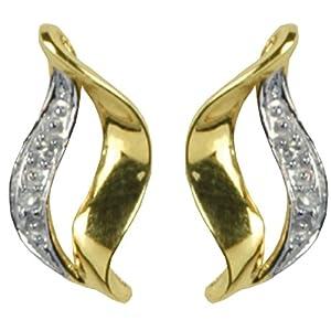 Boucles d'oreille - Femme - Or jaune (9 cts) 1.31 Gr - Diamant