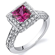 buy Princess Cut 1.00 Carats Created Ruby Engagement Ring In Sterling Silver Rhodium Nickel Finish Size 5
