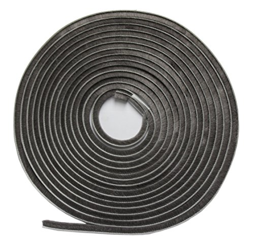 WJ Dennis & Company 417PL Self-Adhesive Pile Weatherstrip, 1/4-Inch x 3/16-Inch x 17-Foot, Grey (Pile Weatherstripping compare prices)