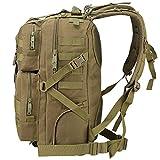 TTLIFE Military Tactical Backpack Large Army Assault Pack Bag Backpack Rucksacks for Outdoor Hiking Camping Trekking Hunting 45L Kaki