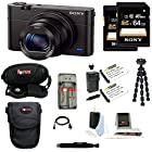 Sony DSC-WX350/B DSCWX350 WX350 18 MP Digital Camera (Black) + Sony 64GB SDHC/SDXC Memory Card + Focus Camera Case + Accessory Kit