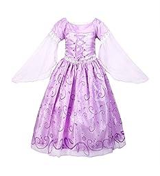ReliBeauty Little Girls Princess Rapunzel Dress Costume (6, Lavender)
