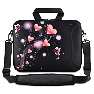"""ChaoDa Pink Heart Bag 9.7"""" 10"""" 10.1"""" inch netbook tablet Shoulder Case Carrying Bag For Amazon Kindle DX /Apple iPad 2 3/Lenovo S10 /Acer/Aspire ONE /ASUS EEEPC /HP /Dell Inspiron Min /Toshiba /Samsung/Sony"""