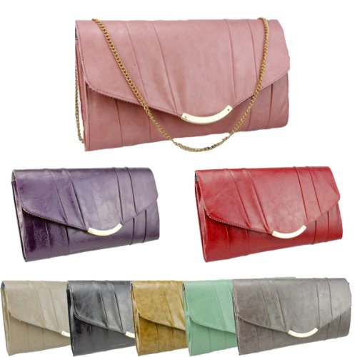 Girly HandBags Elegant Leather Clutch Bag Celeb Vintage Envelope Gold Tribute Multi Colors