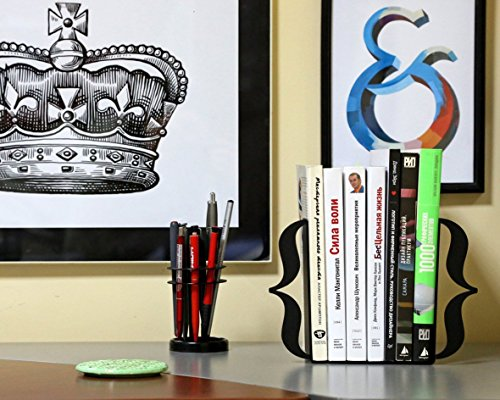 Decorative Metal Bookends - Brackets Black - Curly Braces // metal book holders for modern home // perfect gift for a programmer
