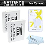 2 Pack Battery Kit For Canon PowerShot SX260 HS, SX260HS, Canon SX280 HS, SX500 IS, SX510 HS, SX520 HS, SX170 IS, S120, SX600 HS, SX700 HS, SX610 HS, SX710 HS, SX530 HS, D30 Digital Camera Includes 2 Extended Replacement (1200Mah) NB-6L Batteries + More