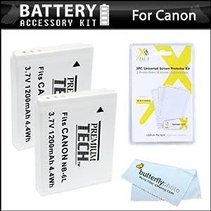 2 Pack Battery Kit For Canon PowerShot SX260 HS, SX260HS, Canon SX280 HS, SX500 IS, SX510 HS, SX520 HS, SX170 IS, S120, SX600 HS, SX700 HS, SX610 HS, SX710 HS, SX530 HS, D30 Digital Camera Includes 2 Extended Replacement (1200Mah) NB-6L Batteries + More