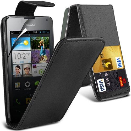 -black-huawei-ascend-y300-premium-faux-cubierta-y-lcd-protector-de-pantalla-caja-de-la-piel-del-tiro