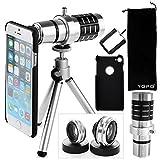 YOPO iPhone 7 Camera Lens Kit - 12X Telephoto Lens, 180° Fisheye Lens, 0.65X Wide Angle Lens, 10X Macro Lens for iPhone 7