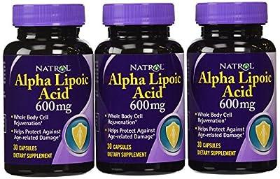 Natrol Alpha Lipoic Acid 600mg Capsules, 30-Count (Pack of 3)