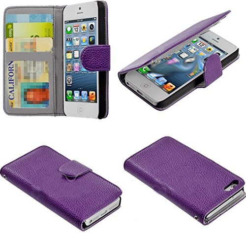 Mylife (Tm) Eggplant Purple - Classic Design - Textured Koskin Faux Leather (Card And Id Holder + Magnetic Detachable Closing) Slim Wallet For Iphone 5/5S (5G) 5Th Generation Itouch Smartphone By Apple (External Rugged Synthetic Leather With Magnetic Clip