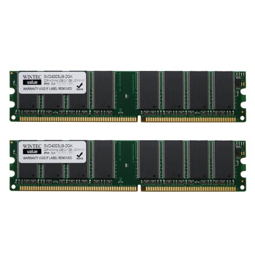 Wintec Value MHzCL3 2GB(2x1GB) UDIMM Kit 2Rx8 2 Dual Channel Kit DDR 400 (PC 3200) 184-Pin SDRAM 3VD4003U9-2GK (Shark Nv 482 compare prices)