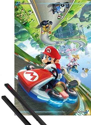 Poster + Sospensione : Super Mario Poster Stampa (91x61 cm) Kart 8, Principessa Peach, Luigi e Coppia di barre porta poster nere 1art1®