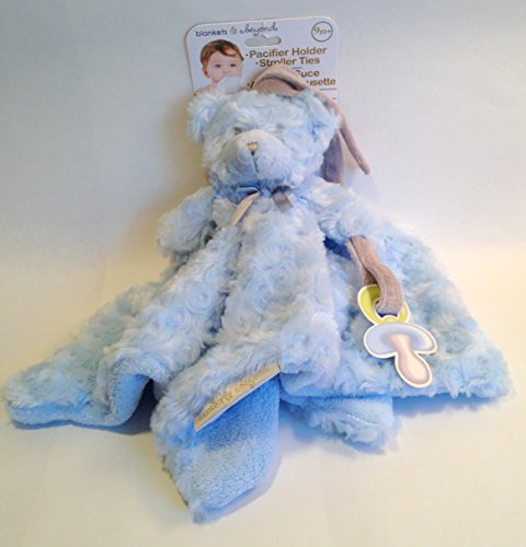 Blankets and Beyond Blue Rosette Nunu Bear with Pacifier Holder and Roller Ties - 1