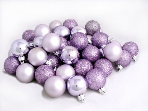 60ct Lavender Purple Shatterproof 4-Finish Christmas Ball Ornaments 2.5″ (60mm)