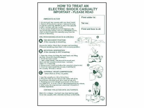 """Scan 4240 - Pannello in PVC """"How To Treat An Electric Shock Casualty"""", testo in inglese, dimensioni 400 x 600 mm"""