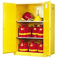 "Justrite Sure-Grip EX 899000 Safety Cabinet for Flammable Liquids, 2 Door Manual Close, 90 gallon, 65""Height, 34""Width, 34""Depth, Steel, Yellow"
