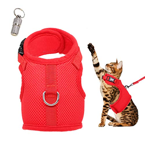 WONDERPUP Adjustable Cat Harness with Leash Set for Walking Escape Proof Soft Air Mesh for Kitty Puppy Rabbits Small Dogs Animal Red M
