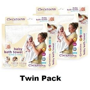 Clevamama Splash & Wrap - Toalla para bebés (2 unidades), color blanco