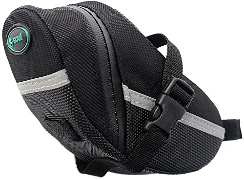 Bike Saddle Bags by BlackFalcon - Bicycle Seat Pack, Strap-on Bag, Capacious, Rainproof, Easy Installation, Taillight Compatible (Black) (Bicycle Saddle Bag Repair Kit compare prices)