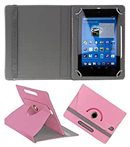 """Generic 360° Rotating 7"""" Inch Tablet Leather Flip Case Cover Book Cover With Stand For Datawind Ubislate 3G7Z -Baby Pink"""