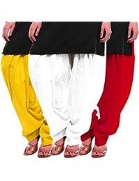 Women's Yellow-White-Red Cotton Patiala Salwar