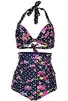Cocoship Floral Polka Vintage High Waisted Bikini Swimsuits Swimwear(FBA)