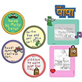 Happy Father's Day Gift Dad Dialog Coasters Love you Papa 3x2 Magnetic Pink and Green Photoframes Fridge Magnet