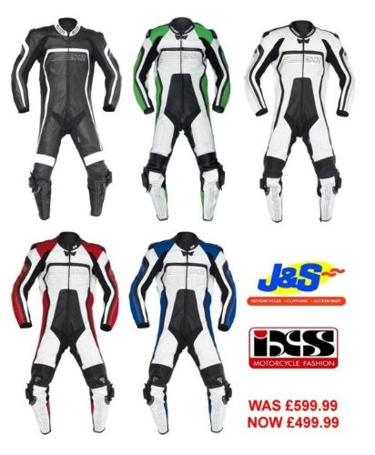 IXS ALBACETE MOTORCYCLE 1 PIECE LEATHER SUIT RACE TRACKDAY MOTORBIKE RACING J&S (EURO 52 / UK 42, WHITE / RED)